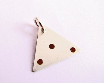 CS15 - Pyramid Scheme Charm by JewelrybyFrancine - Sterling Silver and Copper Triangle with Dots Charm Pendant