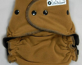 Made to Order Wind Pro Fleece Diaper Cover for Cloth Diapers - Coyote Brown WindPro - You Pick Size and Trim Color of Snaps & Serging Thread