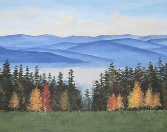 Blue Ridge Mountains, Autumn, Smoky Mountains, Original painting on canvas, Large, 24X36, Blue Ridge Landscape,