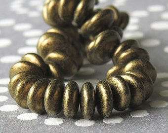 Antique Gold Metallic Suede Czech Glass Bead 6mm Lentil : 50 pc Gold Lentil Bead