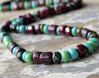 Czech Picasso Aged Mosaic Tube Seed Glass Bead Mix : 10 inch Strand 6/0 Aged Tile Seed Bead Mix
