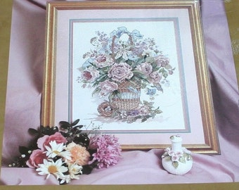 candamar Something Special Basket Bouquet Counted cross stitch sampler # 50627 Vintage 1991 Sealed stitchery kit