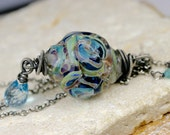 Lampwork - Lampwork Necklace, Gemstone Necklace, Wire Wrapped Necklace, Lampwork Necklace, Blue Topaz Necklace