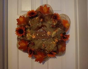 deco mesh fall wreaths, autumn wreath, harvest wreath fall floral wreath