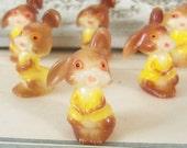 Kitschy / Vintage / Plastic Miniature Rabbits / Six Items / Scenemakers / Terrariums / Dioramas / Sugared Eggs