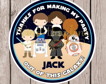 Star Wars Birthday Party Favor Tags or Stickers / Personalized Favor Stickers for Star Wars Party / Set of 12