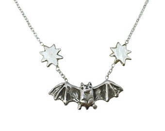 Bat & Stars Necklace   silver gold jewelry