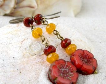 Hypoallergenic - Dangle Earrings - Titanium Earrings - Long Earrings - Beaded Earrings - Orange Earrings - Gift under 20 - Autumn Series16