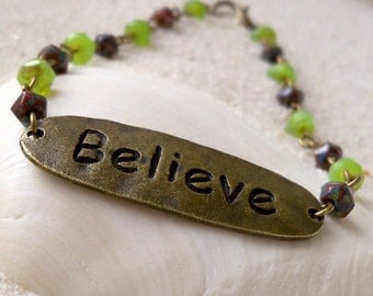 "Women's Beaded Bracelet - ""Believe"" Bracelet - Glass Bead Bracelet - Inspirational Bracelet - Beaded Bracelet - Green and Dark Brown Series"