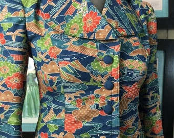 On sale 1970s jacket batik jacket silk jacket fitted jacket 70s jacket size x small vintage jacket novelty print