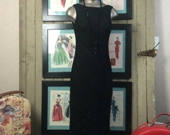 Fall sale 1990s black dress 90s knit dress size small Vintage flapper style dress with fringe