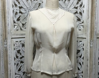 Fall sale 1980s ivory blouse 80s fitted shirt size medium Vintage blouse with puff shoulders button back