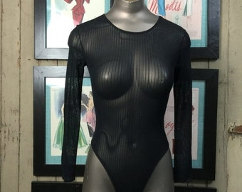 Sale 1980s black bodysuit 80s sheer top size small Vintage 90s bodysuit one piece pin striped