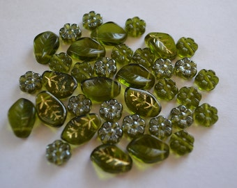 Green Glass Flower and Leaf Beads