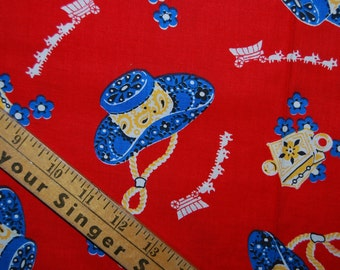 Retro OOP cowboy hat red blue cotton novelty fabric