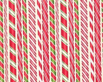 Holly Jolly Christmas - Candy Stripes - From Robert Kaufmann - Ivory (AMK-15178-15)  - 1 Yard - 8.50 Dollars
