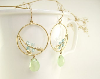 Gold Hoop Earrings - with blue and lime green drop gemstones, green bridal earrings, blue bridesmaid earrings - Sprouting Seed (Gold)