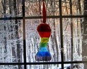 Curvy Rainbow Suncatcher, Glass Rainbow Ornament