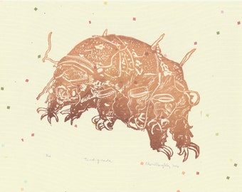 Linocut Tardigrade, Invincible Microscopic Water Bear, Moss Piglet, Handprinted Mighty Micro-Animal Lino Block Print