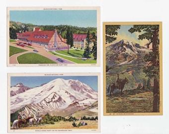 3 Vintage Linen Mount Rainer WA Postcards circa 1940 Unused