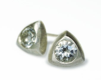 Triangle Solitaire Stud Earrings in Sterling Silver with White Topaz