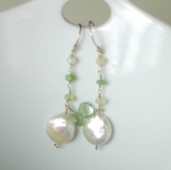 PACIFICA EARRINGS - dangly little mermaid treats in seafoam opal, green amethyst and shiny freshwater coin pearls with sterling silver
