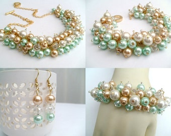 Mint Jewelry Set, Mint Green Ivory and Champagne Gold, Pearl Necklace Bracelet and Earrings, Cluster Jewelry, Wedding Sets, Bridesmaids Gift