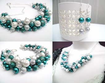 Pearl Beaded Jewelry Set, Teal Silver Gray White Necklace Bracelet and Earrings, Cluster Jewelry, Wedding Sets Bridesmaids Gifts, Chunky