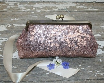 Blush Pink Wedding Clutch, Rose Gold Clutch, Personalized Bridesmaid Clutch, Pink Bridal Purse, Wedding Clutch,Bridesmaid Clutch