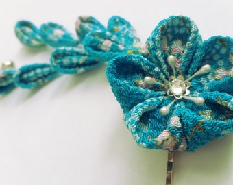 Pink Blue Teal Cherry Blossom Kanzashi Flower Hair Clip