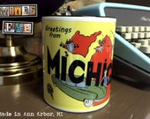 Retro Vintage Greetings from Michigan- 11oz Black Handle Ceramic Coffee Mug