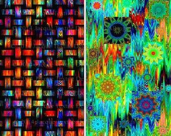 Artisan Made Textile Art Quilting Fabric 2 Large Panels Weave Celestial Kaleidoscope