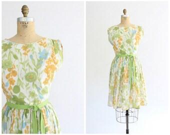 60s floral dress | 1960s vintage crepe floral garden party dress | vtg dress | small