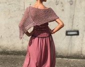 Pink poncho cover up cotton mix poncho