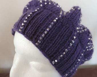 Cashmere and wool hat with beads