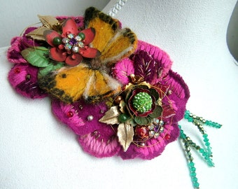 Bloom and Butterfly- OOAK Brooch - Ready to ship xx