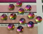 Vintage Faceted Rainbow Iridescent Crystal Cabochons Findings Supply