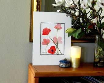 Red Poppies Wall Art, Minimalist Poppy Painting, Abstract Original Watercolor Painting, Mat Included