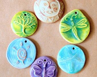 6 Handmade Ceramic Beads - Assortment of Light and Bright Spring and Summer Designs. Stoneware pendants