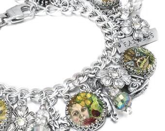 Fairies Charm Bracelet, Forest Fairies Jewelry, Fairy Jewelry, Fairy Charm Bracelet, Forest Fairies Charm Bracelet, Stainless Steel Jewelry
