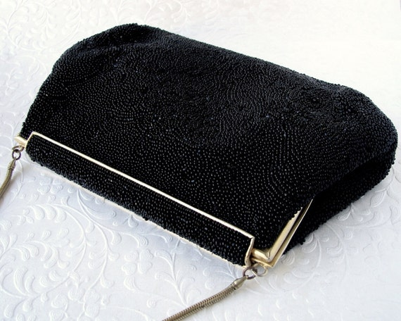 Vintage MICHEL SWISS 16 Rue de la Paix Paris France Jet Black Micro Beaded Purse Gold Frame Formal Glass Bead Handbag French Evening Clutch