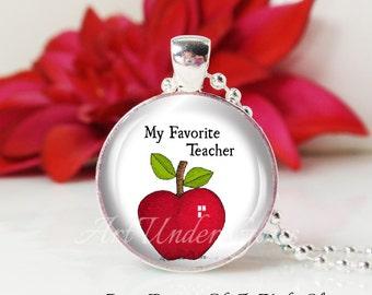 Round Medium Glass Bubble Pendant Necklace-My Favorite Teacher Red Apple