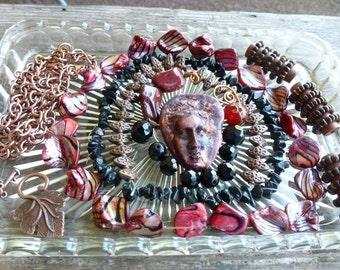 Destash Treasure - Designer Bead Mix, Polymer Ethnic Face, Gypsy Boho, Antique Look, Coordinating Beads, Copper Findings, You Design It
