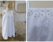 Vintage Antique 1910 /1920 Edwardian white cotton handmade embroidered underdress  size S/M