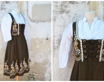 Vintage 1970 /70s Tyrol Austria October fest dirndl dress embroidered + white cotton mini blouse /size S