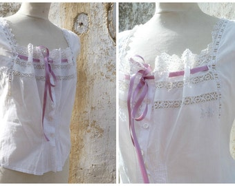 Victorian 1890 French handmade white cotton embroidered  blouse CACHE CORSET size M