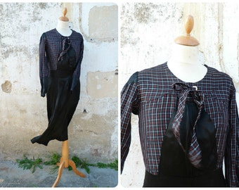 Arletty Vintage 1930/30s French  heavy black sateen & plaid fabric dress size XS