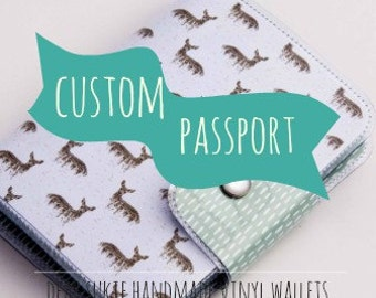Custom Handmade Vinyl Passport Case, travel, card holder, id, travel document case, dear sukie, wallet, pouch, gift, women, men, travel gift