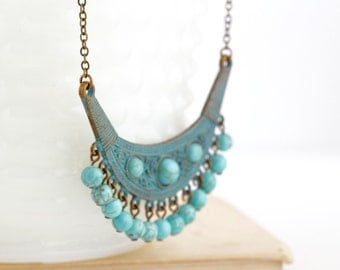 Bohemian, Boho Jewlery, Ethnic Necklace, Gypsy Jewelry, Verdigris Necklace, Bohemian Necklace, Turquoise Necklace, Gift For Her