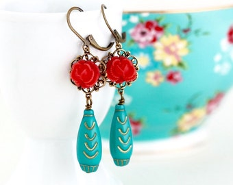 Red and Turquoise Flower Dangle Earrings - Floral Accessories - Vintage Beads - Flower Earrings - Long Earrings - Boho Chic Earrings